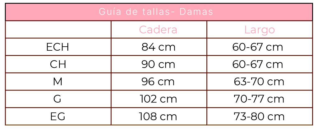 tabla de medidas DAMA 1